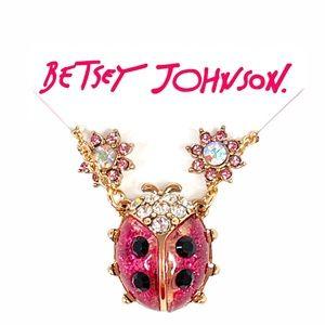 Betsey Johnson Ladybug Necklace & Flower Earrings